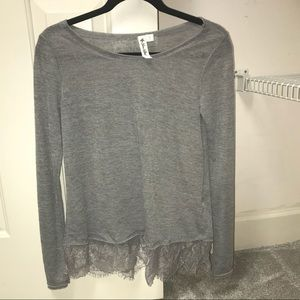 gray lace trim long sleeve top
